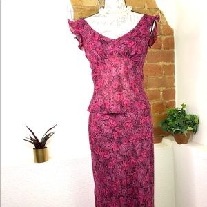 Rose Pattern two piece top and skirt set.
